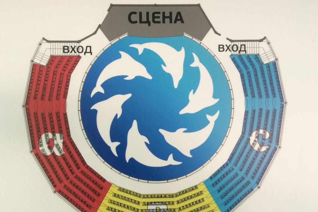 Схема зала Дельфинария Акварель в Алуште